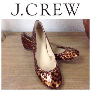 Like New! J Crew Patent Leather Leopard Print Flat